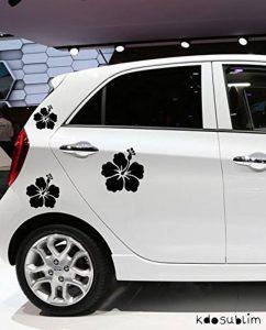 Stickers autocollants 3 fleur d'hibiscus couleur aux choix,voiture,frigo,mur,porte etc... (Noir) de la marque kdosublim image 0 produit
