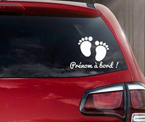 Stickers bébé à bord petit pied personnalisable en ligne avec un prénom de la marque kdosublim image 0 produit