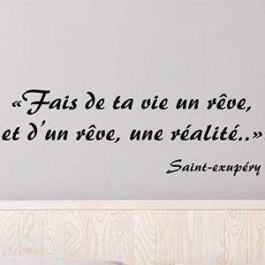 Stickers Citation Célèbre - Saint Exupéry - Fais De Ta Vie Un Rêve Et d'un Rêve Une Réalité - Noir … (Noir) de la marque Irresistick image 0 produit