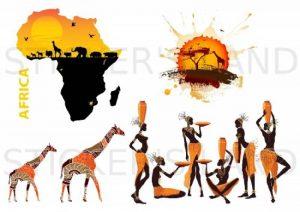 STICKERS DÉCORATIFS AFRIQUE à découper DESERT ANIMAUX ELEPHANT GIRAFE SAUVAGE LION(Planche à stickers DIMENSIONS 21x28cm en PAPIER ADHESIF TRANSPARENT) de la marque STICKER'S LAND image 0 produit