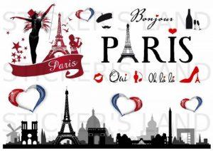 STICKERS DÉCORATIFS PARIS à découper (Planche à stickers DIMENSIONS 21x28cm en PAPIER ADHESIF TRANSPARENT) de la marque STICKER'S LAND image 0 produit