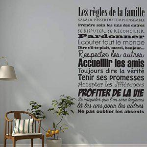 Stickers Français Règles de Famille Vinyle Stickers Muraux Stickers Art Murales Papier Peint Salon Salon Décoration de la Maison Décoration de la Maison de la marque Wdcj image 0 produit