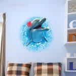 Stickers Muraux 3D Autocollant Adhésif Décoration Murale Dauphin 70*50 cm de la marque Générique image 2 produit