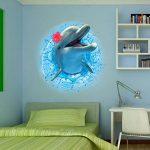 Stickers Muraux 3D Autocollant Adhésif Décoration Murale Dauphin 70*50 cm de la marque Générique image 3 produit