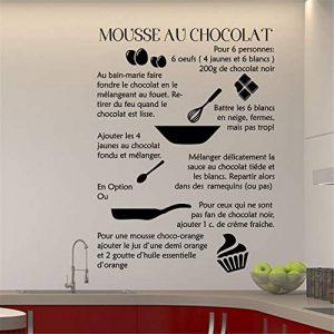 stickers muraux 3d foot Sticker mural cuisine Recette Française Mousse Au Chocolat Pour Cuisine salle à manger Restaurant de la marque autocollant heureux image 0 produit