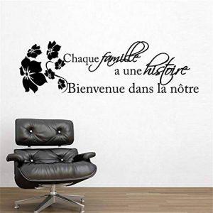 stickers muraux chambre Famille française Motto chaque famille une histoire bienvenue dans notre notre pour Salon Chambre à coucher de la marque tribela image 0 produit