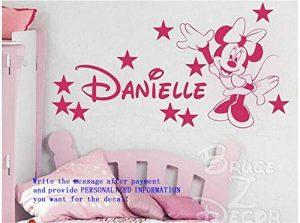 stickers muraux cuisine texte francais Nom personnalisé avec étoiles et souris Minnie pour chambre d'enfant ou chambre à coucher de la marque Alice-Autocollant image 0 produit