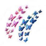 Stickers Muraux De Papillons, CCUCKY 36 Pièces Double Couches 3D Ailes Papillons Décoration Idéal Pour Enfants Chambre Cuisine Réfrigérateur Plantes De Jardin Fêtes Décorations-Rose/Bleu/Violet de la marque CCUCKY image 1 produit
