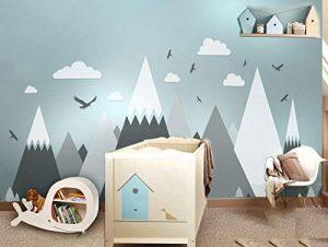Stickers muraux des montagnes grises pour chambre d'enfant - Eagles Pine Trees Clouds Beautiful Art Murals Decal de la marque ELGDX image 0 produit