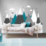 Stickers muraux des montagnes grises pour chambre d'enfant - Eagles Pine Trees Clouds Beautiful Art Murals Decal de la marque ELGDX image 3 produit