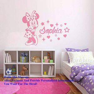 stickers muraux dinosaures Minnie Mouse Nom Personnalisé Sticker Personnalisé Bébé Fille Nom Sticker Mural Pépinière Chambre De Bébé Minnie Mouse Art de la marque windecal image 0 produit