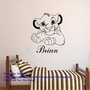 stickers muraux enfants garcon Simba Roi Lion Personnalisé Nom Kidsroom Sticker Mural Garçons Des Animaux Mignon Décor De Carton de la marque windecal image 0 produit