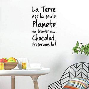 stickers muraux foot Sticker mural cuisine Citation Française La Terre Est La Seule Planète Où Trouver Du Chocolat Pour Cuisine salle à manger de la marque autocollant heureux image 0 produit