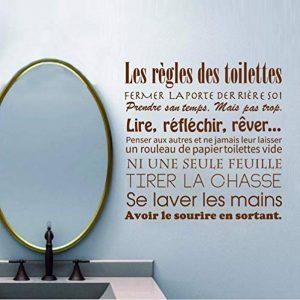 Stickers Muraux Français Règles De Toilette Vinyle Stickers Muraux Mural Art Papier Peint Home Decor Salle De Bains Decorfinished Taille 57X57Cm de la marque WACYDSD image 0 produit