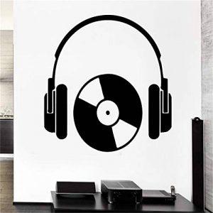 stickers muraux miroir pas cher Hip Hop Style Casque Musique Série Cool Rock Casque Avec CD Design Decal Poster de la marque sauold image 0 produit