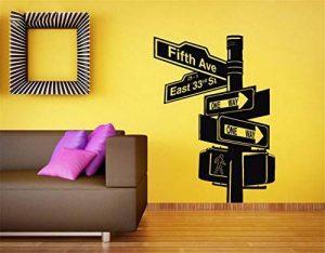 stickers muraux oiseaux noir Panneau de signalisation design de la ville de New York pour le salon de la marque Uertsi image 0 produit