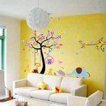Stickers muraux sticker mural grand arbre coloré plantes de la jungle hiboux sur la branche d'arbre Fleurs murales Squirrel Zebra Giraffe Animal World pour chambres salon pépinière bébé de la marque Générique image 3 produit