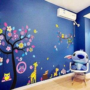 Stickers muraux sticker mural grand arbre coloré plantes de la jungle hiboux sur la branche d'arbre Fleurs murales Squirrel Zebra Giraffe Animal World pour chambres salon pépinière bébé de la marque Générique image 0 produit