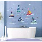 Stickers muraux voiliers avec vue sur la mer pour décoration de chambre d'enfant de la marque LICHI image 1 produit