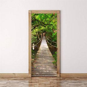 Stickers porte trompe l'oeil Porte en bois Forest Motifs Chambre Autocllants Muraux 3D Salon Decoration (Pont) de la marque Ouneed® image 0 produit