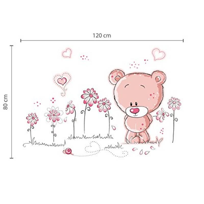 Walplus Stickers muraux pour chambre de b/éb/é Ours en peluche Rose