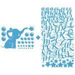 Stickers Prénom Personnalisé | Sticker Autocollant bébé éléphant - Décoration Murale Chambre Enfant | 2 Planches de 20 x 30 cm et 55 x 30 cm – Bleu Glace de la marque Ambiance Sticker image 2 produit