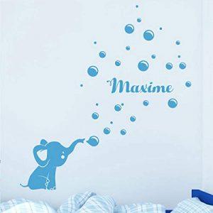 Stickers Prénom Personnalisé | Sticker Autocollant bébé éléphant - Décoration Murale Chambre Enfant | 2 Planches de 20 x 30 cm et 55 x 30 cm – Bleu Glace de la marque Ambiance Sticker image 0 produit