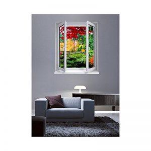 Stickers trompe l'oeil fenêtre Le jardin exotique - L 76cm x H 90cm de la marque TATOUTEX image 0 produit