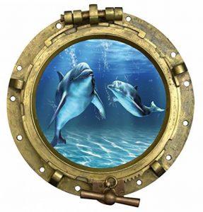 Stickersnews - Sticker Hublot Dauphins vue sous marine Dimensions - 30x30cm de la marque N/D image 0 produit