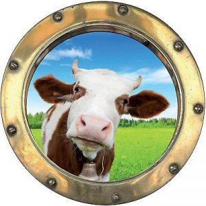 Stickersnews - Sticker trompe l oeil déco Vache réf:hublot 1128 Dimensions - 30x30cm de la marque N/D image 0 produit