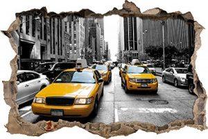 Stil.Zeit Mur de New York Taxi Jaune percée en 3D Look, Mur ou Format Vignette de la Porte: 92x62cm, Stickers muraux, Sticker Mural, décoration Murale de la marque Stil-Zeit image 0 produit