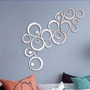 Stonges Cristal 3D Miroir Stickers Muraux Acrylique Cercle Stéréo DIY Stickers Muraux Chambre Salon Mural (argent) de la marque Stonges image 0 produit