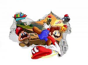Super Mario Stickers muraux 3d Home Decor Chambre ? coucher amovible en PVC Autocollant Papier mural Stickers Art pour chambre d'enfant 59?cm x 76?cm de la marque INFANS image 0 produit