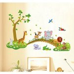 Tandi Sac enfants enfant Crèches Chambre de bébé Stickers muraux Stickers Fleurs animaux sauvages Jungles, Vinyle, Wild Animals, 140(W) X90(H) CM de la marque Tandi image 1 produit