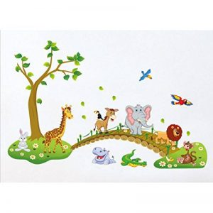 Tandi Sac enfants enfant Crèches Chambre de bébé Stickers muraux Stickers Fleurs animaux sauvages Jungles, Vinyle, Wild Animals, 140(W) X90(H) CM de la marque Tandi image 0 produit