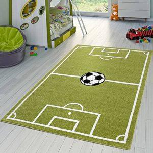 Tapis Enfants Football Jouer Tapis pour Chambre d'enfant Terrain De Football en Vert Crème, Dimension:80x150 cm de la marque T-T-Design image 0 produit