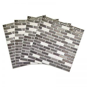 Tile & Sticker 3D Autocollant Mural Imperméable Auto-adhésif en mosaïque pour la Salle de Bain et la Cuisine Noir, Gris et Blanc 23 x 23cm Lot de 4 de la marque Tile-Sticker image 0 produit
