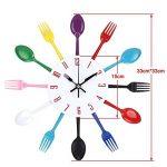 Timelike Horloge de cuisine effet miroir en forme de cuillère, fourchette, couverts, adhésif amovible en 3d pour décoration de la maison 32*32*4CM argent métallique de la marque Timelike image 1 produit