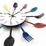 Timelike Horloge de cuisine effet miroir en forme de cuillère, fourchette, couverts, adhésif amovible en 3d pour décoration de la maison 32*32*4CM argent métallique de la marque Timelike image 2 produit