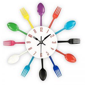 Timelike Horloge de cuisine effet miroir en forme de cuillère, fourchette, couverts, adhésif amovible en 3d pour décoration de la maison 32*32*4CM argent métallique de la marque Timelike image 0 produit