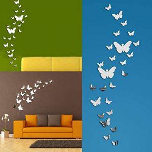 Tomkity 60 Pièces 3D Papillons Miroir Décoration Stickers Muraux Autocollants Pour chambre Salon (60 papillon argenté) de la marque Tomkity image 0 produit