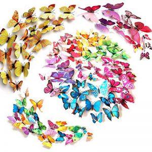 Tomkity 96 3D Stickers Muraux Autocollant Mural de Papillons Sticker Mural Autocollants pour décoration avec les Tailles Différentes de la marque Tomkity image 0 produit