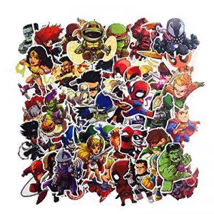 ⭐️ Top Stickers ! ⭐️ Lot de 50 Stickers Marvel - Autocollants HD Non Vulgaires – Bomb, Super Heros, Hulk, Spiderman, Superman, Tortues Ninja - Customisation, Scrapbooking, personnalisation… de la marque SetProducts image 0 produit