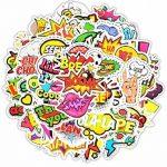 ⭐️ Top Stickers ! ⭐️ Lot de 50 Stickers Texte Onomatopées - Autocollant Top Qualité – Yeah Boom Wow Crack Go Stop Cool - Customisation ordinateur portable, bagages, moto, vélo… (#50-TEXTES) de la marque SetProducts image 1 produit