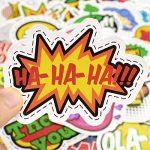 ⭐️ Top Stickers ! ⭐️ Lot de 50 Stickers Texte Onomatopées - Autocollant Top Qualité – Yeah Boom Wow Crack Go Stop Cool - Customisation ordinateur portable, bagages, moto, vélo… (#50-TEXTES) de la marque SetProducts image 3 produit