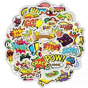 ⭐️ Top Stickers ! ⭐️ Lot de 50 Stickers Texte Onomatopées - Autocollant Top Qualité – Yeah Boom Wow Crack Go Stop Cool - Customisation ordinateur portable, bagages, moto, vélo… (#50-TEXTES) de la marque SetProducts image 0 produit
