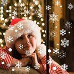 Tout en un fenêtre fenêtre statique autocollant autocollant Traceless Stickers muraux, magasin de Noël bricolage Clings Home Stickers mur de verre, 4 Pcs 152 flocons de neige blanche 68 points ronds de la marque Pandas-Mall image 3 produit