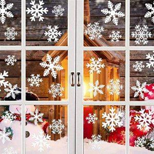 Tout en un fenêtre fenêtre statique autocollant autocollant Traceless Stickers muraux, magasin de Noël bricolage Clings Home Stickers mur de verre, 4 Pcs 152 flocons de neige blanche 68 points ronds de la marque Pandas-Mall image 0 produit