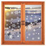 Tout en un fenêtre fenêtre statique autocollant autocollant Traceless Stickers muraux, magasin de Noël bricolage Clings Home Stickers mur de verre, 4 Pcs 152 flocons de neige blanche 68 points ronds de la marque Pandas-Mall image 4 produit