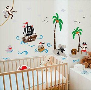 ufengke Bande Dessinée Bateau Pirate Singe Pirate Île de Noix de Coco Stickers Muraux, La Chambre des Enfants Pépinière Autocollants Amovibles de la marque ufengke-décor image 0 produit